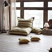 Огромная подушка-пуфик Green Stripe + 4 подушки
