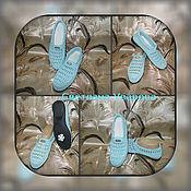 Обувь ручной работы. Ярмарка Мастеров - ручная работа Летние женские мокасины.Нежно голубые.100%хлопок. Синтия. Handmade.