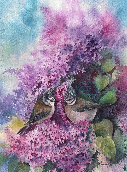 Картины цветов ручной работы. Ярмарка Мастеров - ручная работа. Купить Акварельная картина с сиренью и птицами - О весне. Handmade.