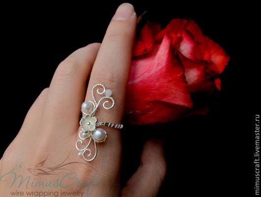 """Кольца ручной работы. Ярмарка Мастеров - ручная работа. Купить Кольцо """"Purity"""" с жемчугом. Handmade. Белый, кольцо с жемчугом"""