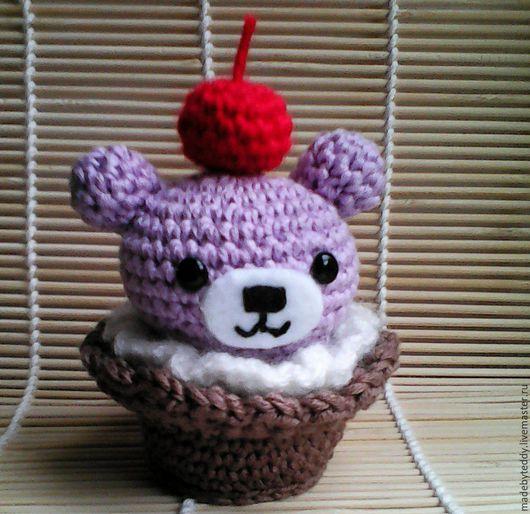 Еда ручной работы. Ярмарка Мастеров - ручная работа. Купить Мишка-Кексик крючком. Handmade. Бледно-розовый, розовый, мишка