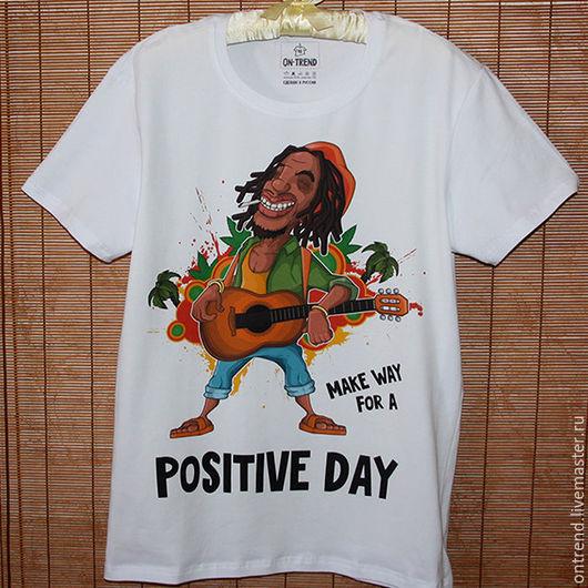 """Для мужчин, ручной работы. Ярмарка Мастеров - ручная работа. Купить Мужская футболка """"Классный день"""" (017). Handmade. Белый"""