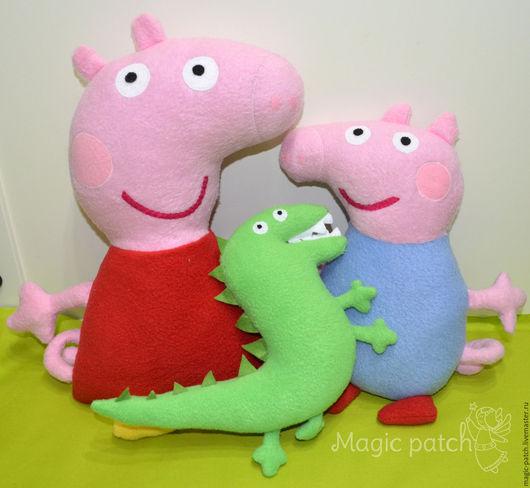 Сказочные персонажи ручной работы. Ярмарка Мастеров - ручная работа. Купить Свинка Пеппа, Джордж и динозавр. Handmade. Пеппа, мультяшки