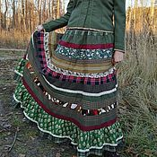 Одежда ручной работы. Ярмарка Мастеров - ручная работа Лоскутная юбка зеленая. Handmade.