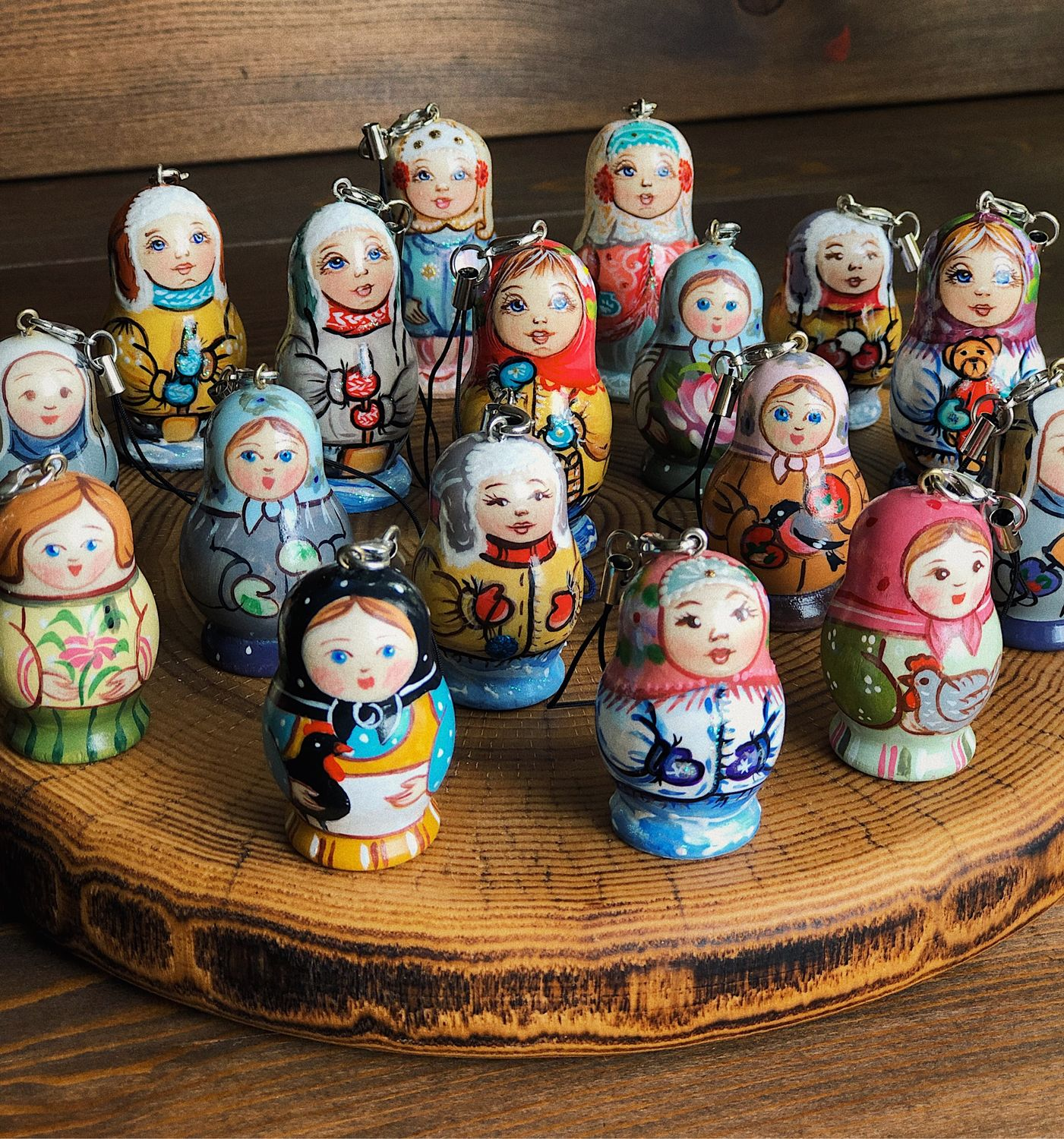 Key rings-matryoshka painted by the author, 5,5 cm and 4 cm, Dolls1, Moscow,  Фото №1