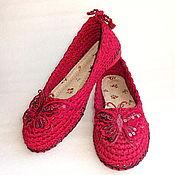 """Обувь ручной работы. Ярмарка Мастеров - ручная работа Балетки вязаные """"Батерфляй"""", бордо, лен. Handmade."""