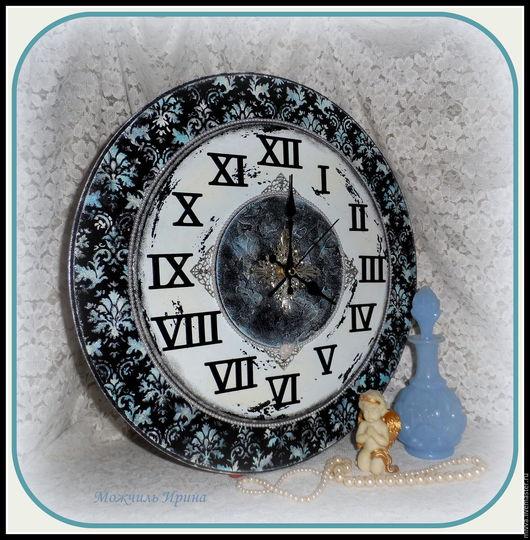 """Часы для дома ручной работы. Ярмарка Мастеров - ручная работа. Купить Часы настенные большие """"Чёрно-голубой винтаж"""". Handmade."""