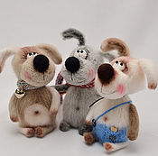 """Мягкие игрушки ручной работы. Ярмарка Мастеров - ручная работа Вязаные игрушки Собаки """"Верные друзья (Жужа, Шуруп и Бим)"""". Handmade."""