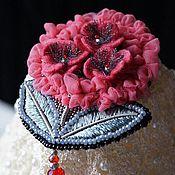 Украшения ручной работы. Ярмарка Мастеров - ручная работа Вышитая брошь Цветок. Handmade.