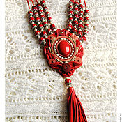 "Украшения handmade. Livemaster - original item Necklace in leather ""Cowberry"" with coral. Handmade."