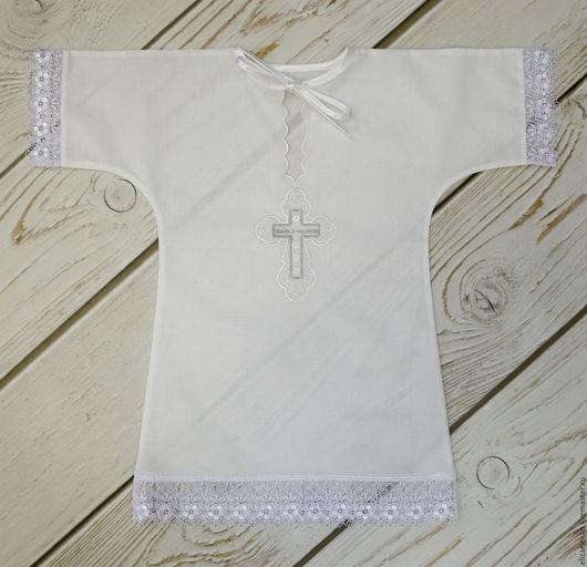 """Крестильные принадлежности ручной работы. Ярмарка Мастеров - ручная работа. Купить Рубашка для крещения """"Спаси и Сохрани"""". Handmade. Белый"""