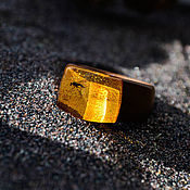 Украшения handmade. Livemaster - original item Wooden ring with enclosure in amber. Handmade.