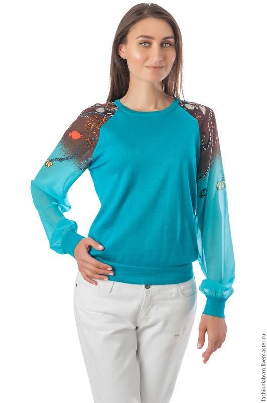 """Кофты и свитера ручной работы. Ярмарка Мастеров - ручная работа. Купить Женская блузка смешанной техники """"Аквастика"""". Handmade."""