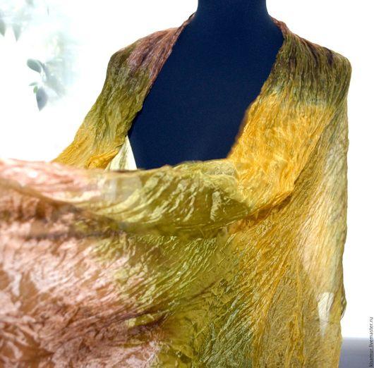 Шарфы и шарфики ручной работы. Ярмарка Мастеров - ручная работа. Купить шелковый шарф желто коричнево оливковый. Handmade.