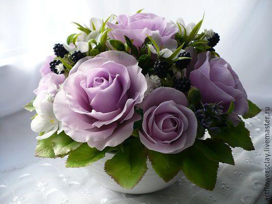 Букеты ручной работы. Ярмарка Мастеров - ручная работа. Купить Букет с розами и ежевикой (полимерная глина). Handmade. Букет