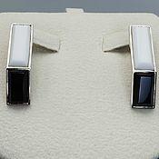 Украшения handmade. Livemaster - original item Silver earrings with white agate and black onyx. Handmade.