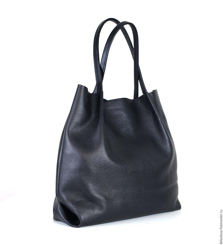 Black leather shopping bag medium bag Tote string Bag, Sacks, Moscow,  Фото №1