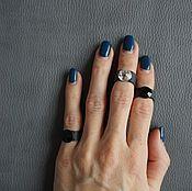Украшения ручной работы. Ярмарка Мастеров - ручная работа Сет из 3-х кожаных колец с кристаллами SWAROVSKI, черный. Handmade.