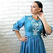 Одежда handmade. Livemaster - original item Dress with embroidery Turquoise happiness. Handmade.