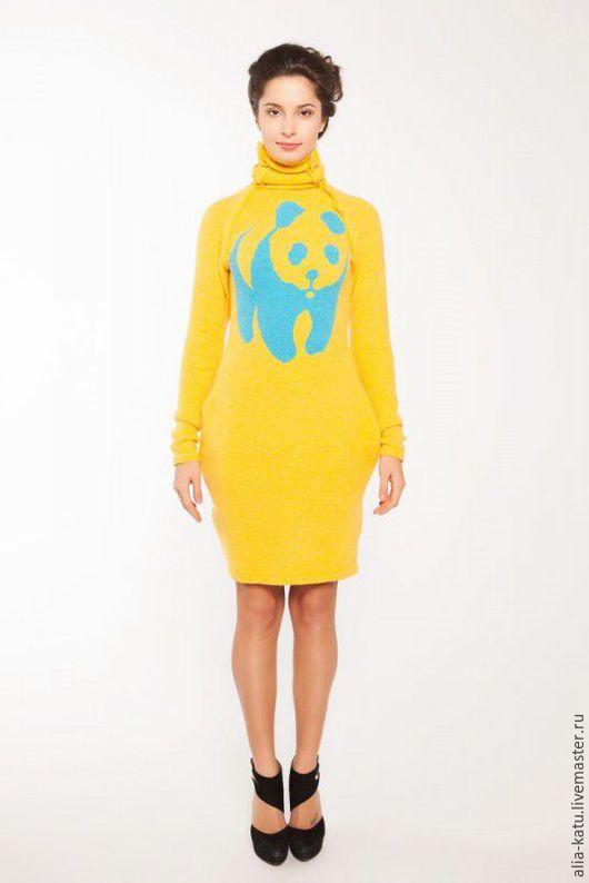 """Платья ручной работы. Ярмарка Мастеров - ручная работа. Купить Платье """"Панда"""". Handmade. Желтый, платье на зиму, теплое платье"""