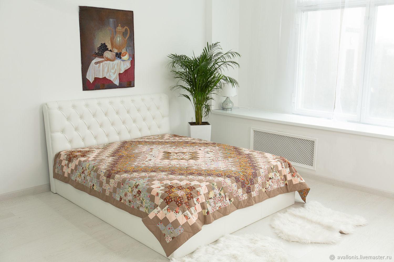 Patchwork Beige 220x225cm CUSTOM double bedspread, Blankets, Moscow,  Фото №1