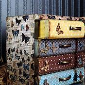 Для дома и интерьера ручной работы. Ярмарка Мастеров - ручная работа Порхающие бабочки, мини-комод (декупаж). Handmade.