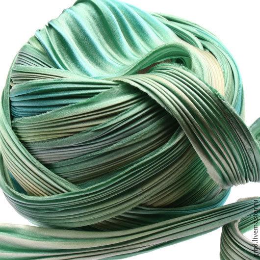 Для украшений ручной работы. Ярмарка Мастеров - ручная работа. Купить Шелковая лента Шибори (Shibori) цвет Deep Sea Mermaid. Handmade.