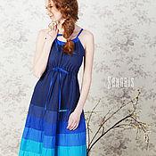 Одежда ручной работы. Ярмарка Мастеров - ручная работа Платье цвета индиго. Handmade.