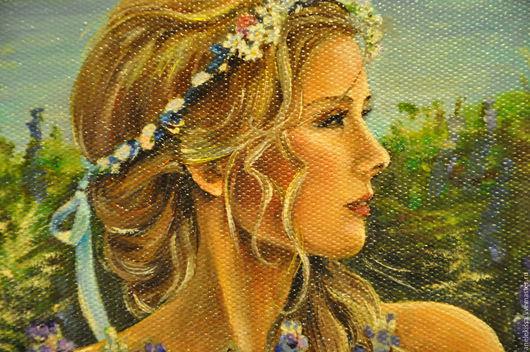 """Люди, ручной работы. Ярмарка Мастеров - ручная работа. Купить Картина маслом """" Девушка с люпинами"""". Handmade. Фиолетовый, июнь"""