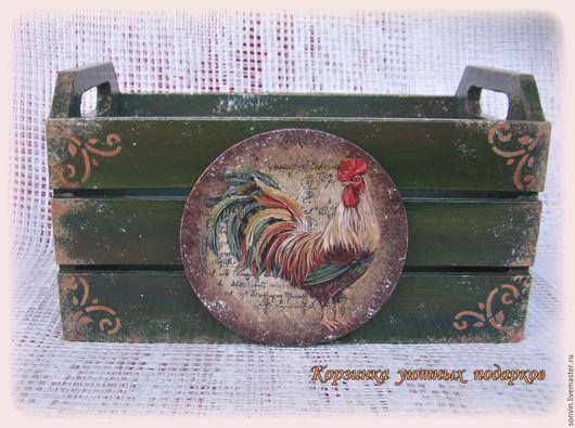 """Кухня ручной работы. Ярмарка Мастеров - ручная работа. Купить Ящичек для кухни """"Петухи"""". Handmade. Тёмно-зелёный, подарок на новый год"""