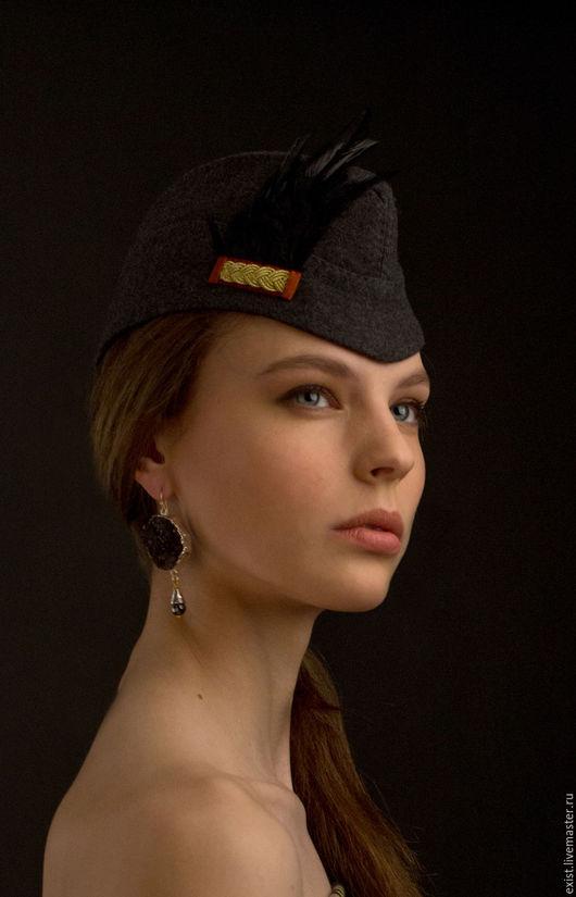 Шляпы ручной работы. Ярмарка Мастеров - ручная работа. Купить пилотка с перышками. Handmade. Серый, пилотки, шляпка, аксессуары, тренд