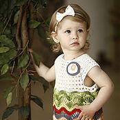 Работы для детей, ручной работы. Ярмарка Мастеров - ручная работа Платье для девочки вязаное крючком Цветущая Календула. Handmade.