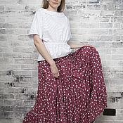 Одежда handmade. Livemaster - original item Tiered skirt from staple (white flowers on cherry). Handmade.