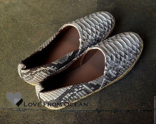 Обувь ручной работы. Ярмарка Мастеров - ручная работа. Купить Балетки -  эспадрильи из натуральной кожи питона. Handmade. Бирюзовый
