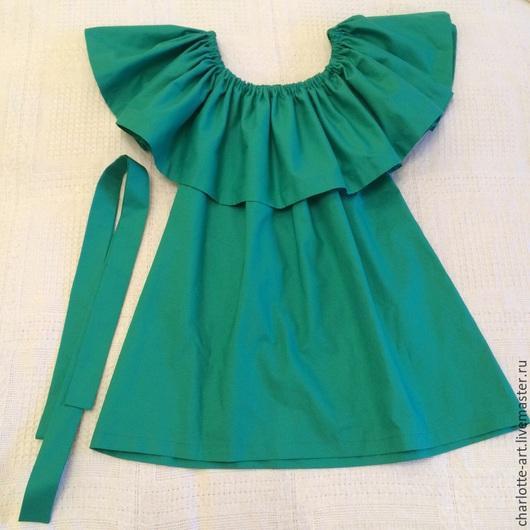 Блузки ручной работы. Ярмарка Мастеров - ручная работа. Купить Блуза  с воланом из хлопка Зеленая с поясом. Handmade. Зеленый
