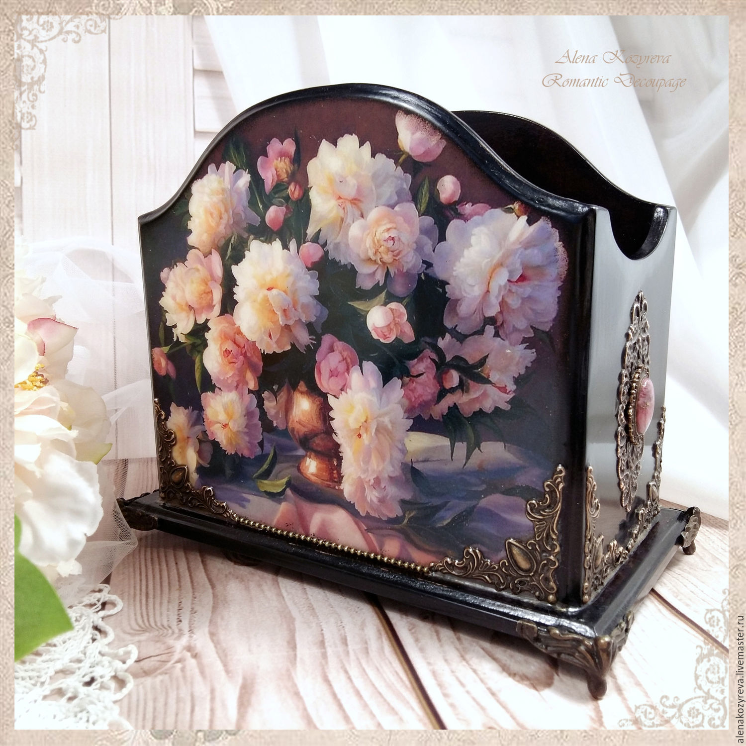 Stand for consoles 'Favorite peonies' 2 types, Pencil holders, Zeya,  Фото №1