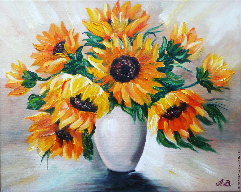 Картины цветов ручной работы. Ярмарка Мастеров - ручная работа. Купить Подсолнухи в вазе. Handmade. Подсолнухи, sunflowers