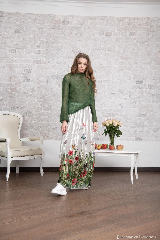 f46b0fde1ee Купить Шелковая юбка в пол Маки Юбки ручной работы. Шелковая юбка в пол Маки.  Tatiana Larina.