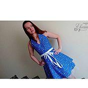 Одежда ручной работы. Ярмарка Мастеров - ручная работа Платье синее в горошек на корсете (корсаже)  к выпускному балу. Handmade.