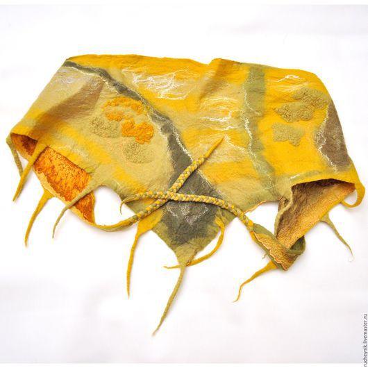 """Шарфы и шарфики ручной работы. Ярмарка Мастеров - ручная работа. Купить Шарф-бактус """"Лесной"""". Handmade. Желтый, бактус валяный"""