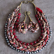 Украшения handmade. Livemaster - original item Necklace and earrings Russian seasons, Pavlovo Posad shawl, pearl, garnet. Handmade.