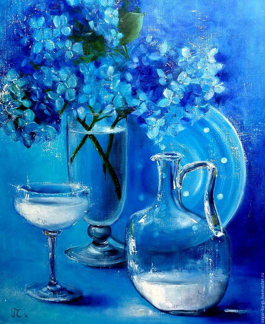 """Натюрморт ручной работы. Ярмарка Мастеров - ручная работа. Купить """"Синий натюрморт"""". Handmade. Тёмно-синий, Ультрамарин, Бокалы, Живопись"""
