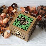 Свадебный салон handmade. Livemaster - original item Wooden carved jewelry box for wedding rings. Handmade.