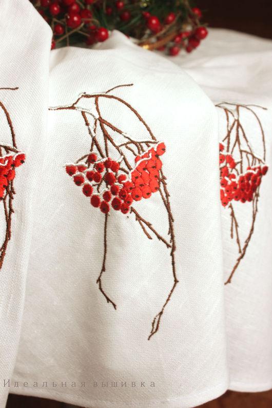 """Текстиль, ковры ручной работы. Ярмарка Мастеров - ручная работа. Купить Льняная круглая скатерть """"Рябина в снегу"""". Handmade. Белый"""