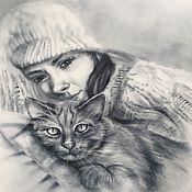 Картины и панно ручной работы. Ярмарка Мастеров - ручная работа Котик. Handmade.