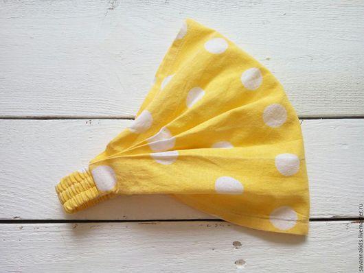 Шапки и шарфы ручной работы. Ярмарка Мастеров - ручная работа. Купить Косынка на резинке для девочки. Handmade. Желтый, бандана для девочки