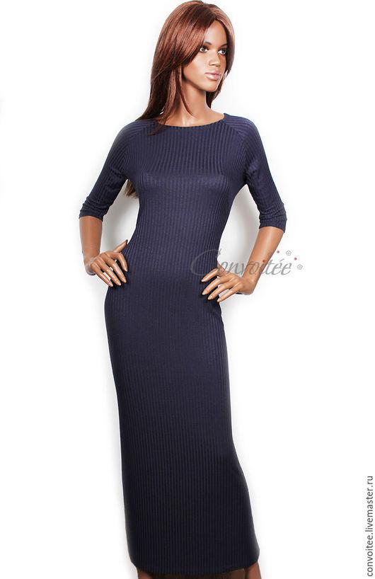 Платья ручной работы. Ярмарка Мастеров - ручная работа. Купить Платье-«лапша» макси в спортивном стиле. Handmade. Тёмно-синий