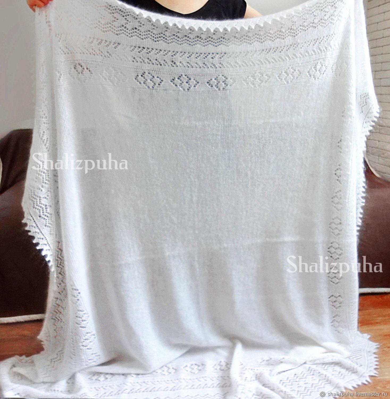 Down shawl shawl white, thick knit 170 x 165 cm, 142-1, Shawls1, Orenburg,  Фото №1