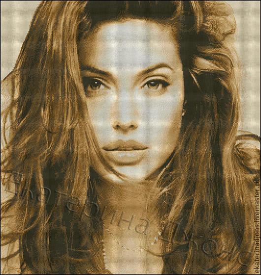 № 1. Анджелина Джоли.  Авторская схема для вышивки крестом.  Создам схему на заказ по вашему фото.