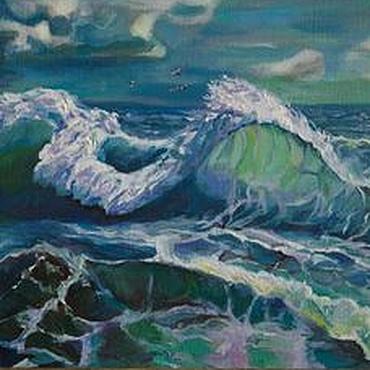 """Картины и панно ручной работы. Ярмарка Мастеров - ручная работа Картина море масло пейзаж """"Море взволновано дышит"""". Handmade."""